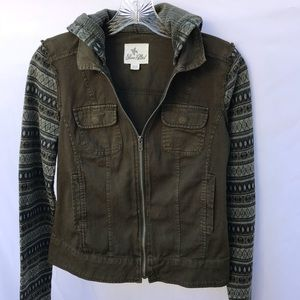 Others Follow Frayed Edges Olive Cargo Hoodie  XS